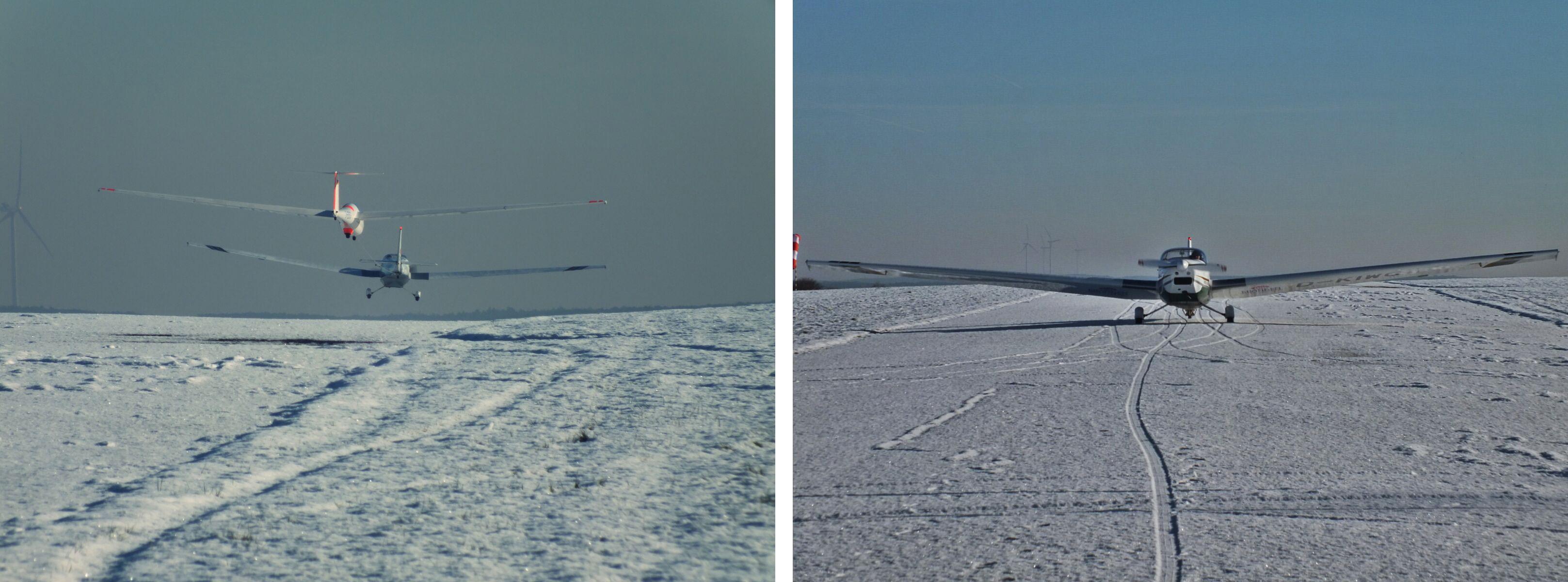 Segelflugschlepp im Schnee